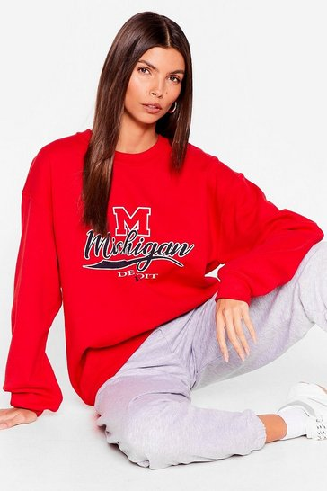 Red Oversized Michigan Detroit Graphic Sweatshirt