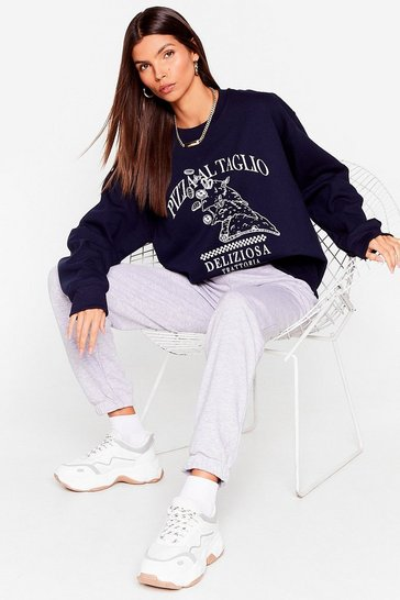 Navy You Wanna Pizza This Graphic Sweatshirt