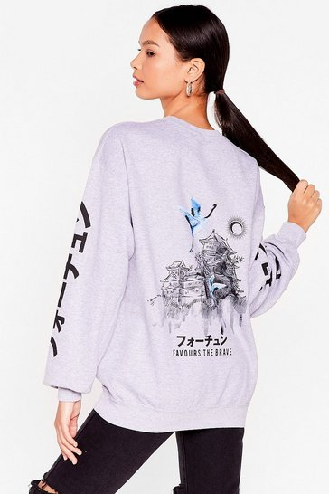 Grey Favors the Brave Oversized Graphic Sweatshirt
