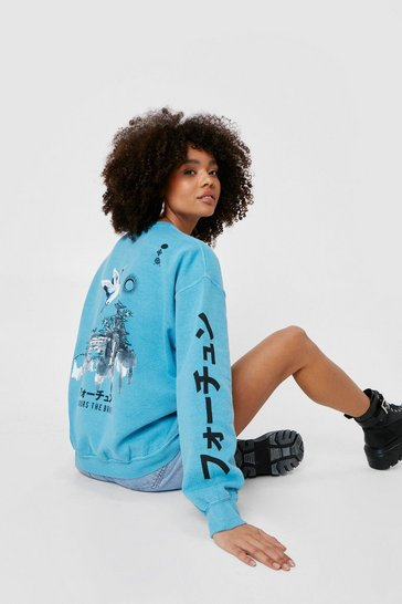 Teal Favors the Brave Oversized Graphic Sweatshirt