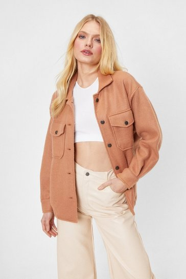 Camel Faux Wool Collared Oversized Jacket Collar