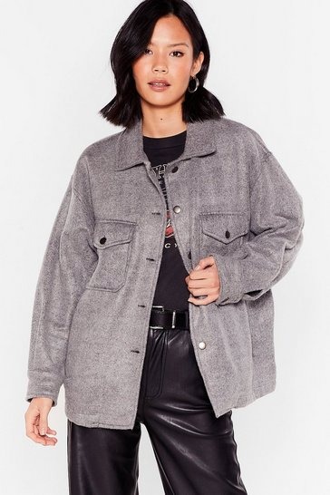 Charcoal Collar Me Back Oversized Faux Wool Jacket