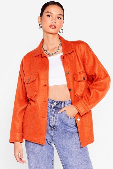 Rust Collar Me Back Oversized Faux Wool Jacket