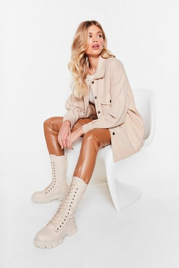 Sand Collar Me Back Oversized Faux Wool Jacket