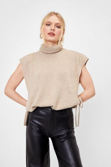Oatmeal Opening Line Turtleneck Knitted Tank Top