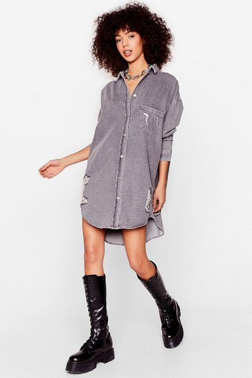 Grey Oversized Distressed Denim Shirt