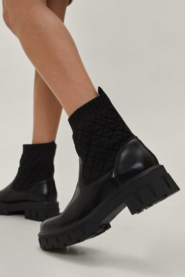 Black Faux Fur Cuff and Collar Denim Jacket