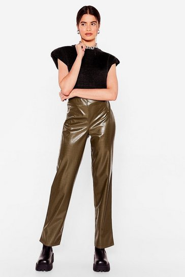 Green olive In a State of Croc Faux Leather Pants