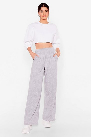 Grey We've Gotta Run Wide-Leg Jogger Pants