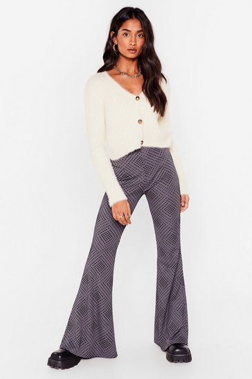 Grey Flare Were You High-Waisted Pants