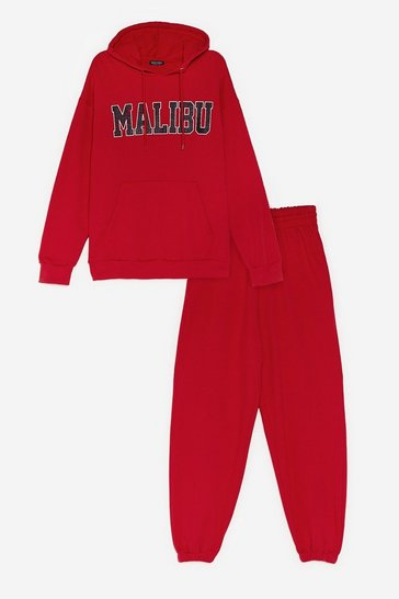 Red Malibu and I Graphic Hoodie and Joggers Set