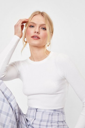 White Ruched Side Ribbed Crop Jumper