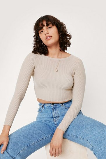 Beige Cropped Ribbed Knit Crew Neck Sweater