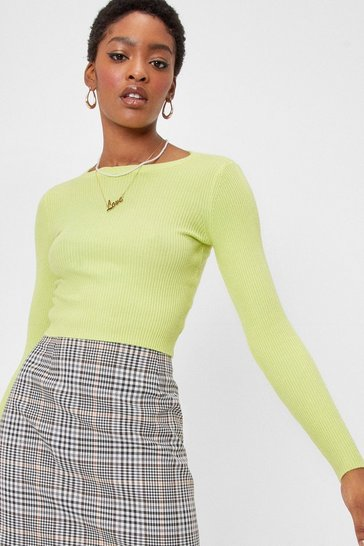 Green Cropped Ribbed Knit Crew Neck Sweater