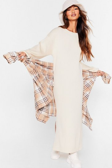 Cream No Slit Knitted Balloon Sleeve Midi Dress