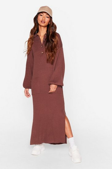 Chocolate Don't Pocket About Me Knitted Midi Dress