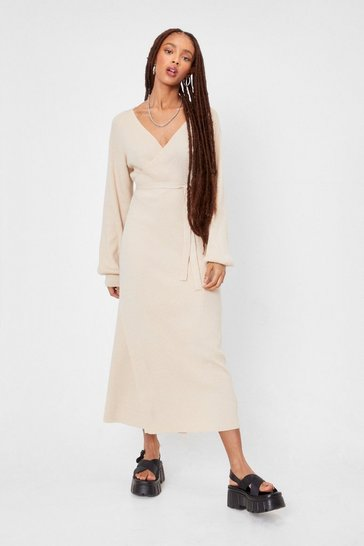 Light stone Knitted Balloon Sleeve Belted Midi Dress