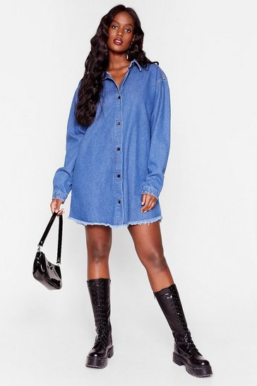 Mid blue Plus Size Raw Hem Denim Shirt Dress