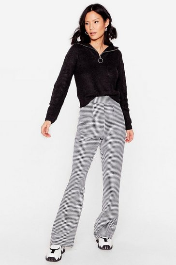 Mono What Do You Flare High-Waisted Houndstooth Pants