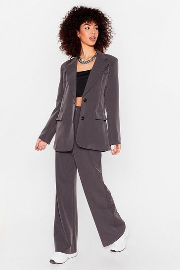 Grey Let's Make It Work High-Waisted Wide-Leg Pants