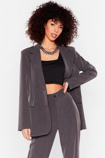 Grey Let's Make It Work Oversized Blazer