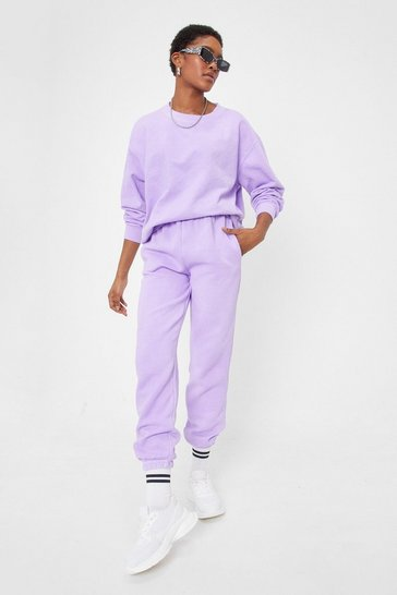 Washed lilac Get Your Sweat On Cuffed High-Waisted Joggers