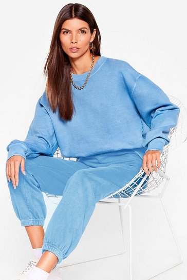 Washed blue Today's a Crew Day Oversized Sweatshirt