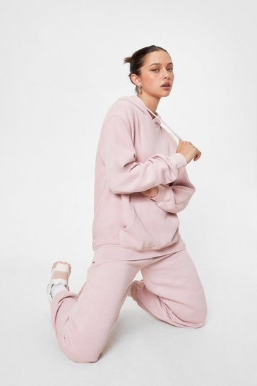 Washed pink Press Pause Oversized Hoodie