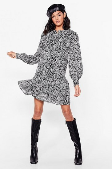 Black Floral Long Sleeve Mini Shift Dress