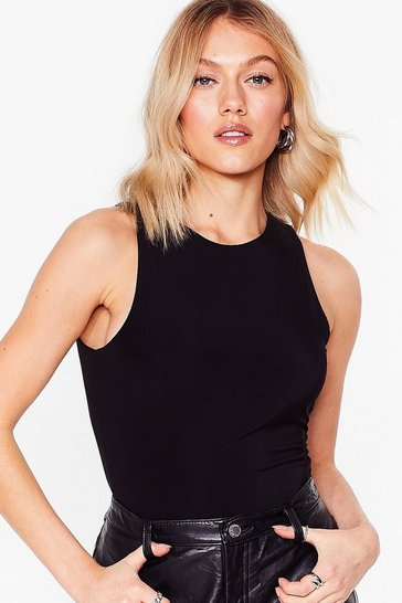 Black What Do You Slink Petite Racer Bodysuit