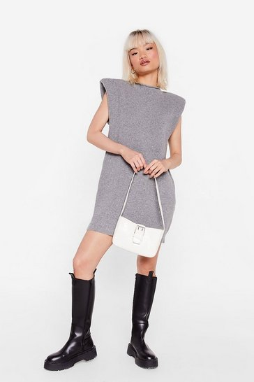Grey Petite Knitted Mini Sweater Dress