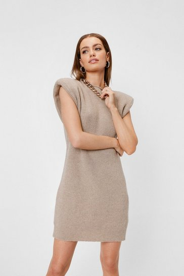 Oatmeal Petite Knitted Mini Sweater Dress