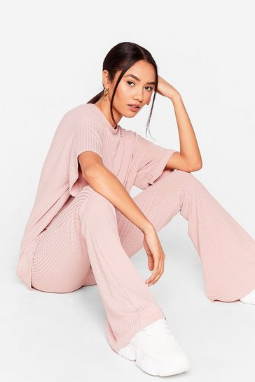 Rose Together Again Petite Oversized Tee and Flare Pants Set