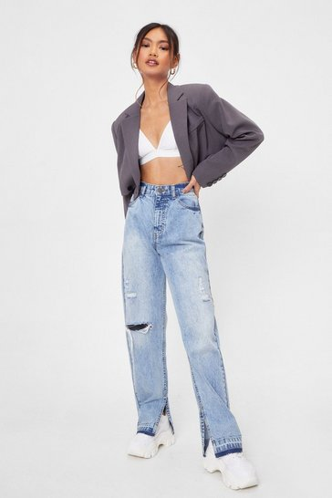 Vintage wash Petite Distressed Split Hem Jeans