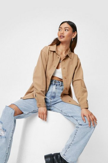 Stone Petite Frayed Hem Oversized Denim Shirt