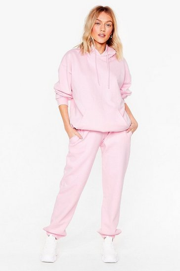 Pink Petite Casual Hoodie and Joggers Lounge Set
