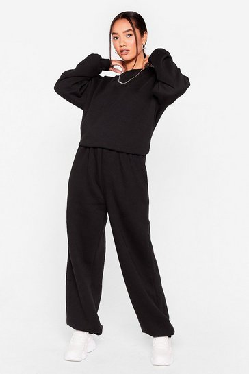 Black Petite Slouchy Sweatshirt And Sweatpant Set