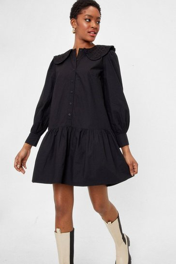 Black Broderie Collared Mini Shirt Dress