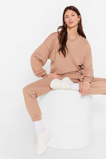 Beige Can't Quilt You Baby Sweatshirt and Joggers Set