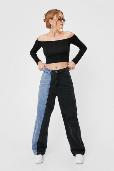 Washed black On My Way Two-Tone Wide-Leg Jeans
