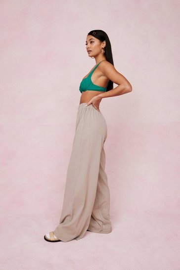 Stone Crinkle Oversized Wide Leg Cover Up Pants