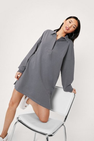 Oversized Long Sleeve Mini Shirt Dress, Charcoal