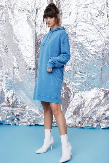Denim-blue Acid Wash You See Oversized Hoodie Dress