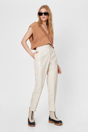 Ecru Croc Straight Leg Faux Leather Pants