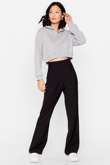 Black Woven High Waisted Flares