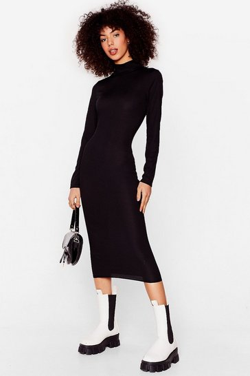 Black Oh Rib's On High Neck Fiited Midi Dress