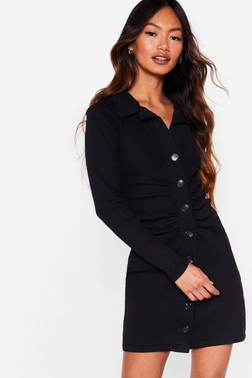 Ecru Button Down Gathered Front Mini Dress