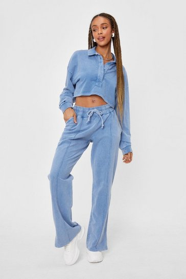 Blue Acid Wash Polo Crop Top And Wide Leg Jogger Set