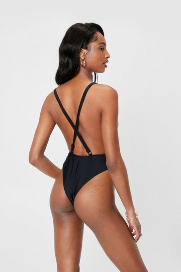Black Open Back High Leg Strappy Swimsuit