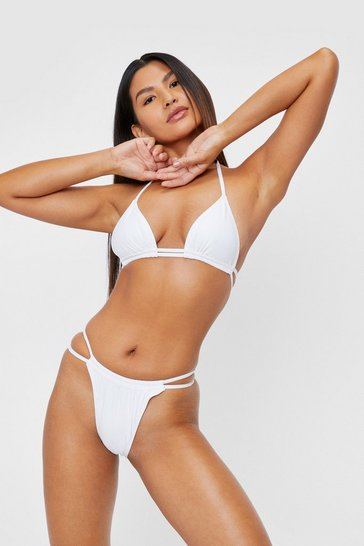 White Strappy Triangle High Leg Bikini Set